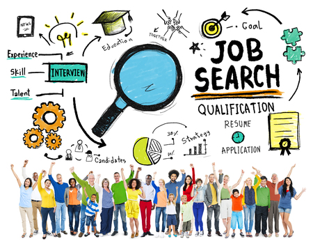 entrevista de trabajo: Diversidad Buscar Celebración de la meta de empleo Concept