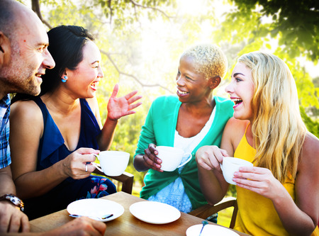 woman drinking tea: Diverse People Coffee Shop Outdoors Chat Concept