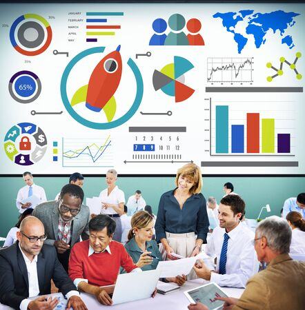 new strategy: New Business Chart Innovation Teamwork Global Business Concept Stock Photo