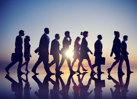 grupos de gente: Negocios personas que se desplazan de Rush Hour Concept