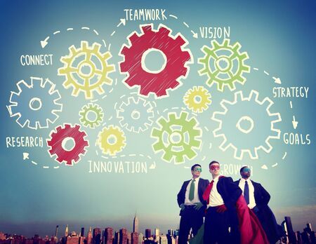 teamwork concept: Team Functionality Industry Teamwork Connection Technology Concept