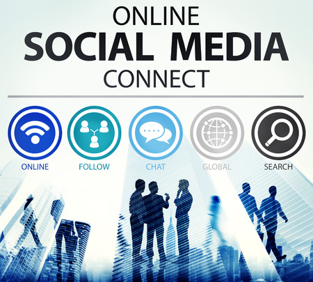 network people: Online Social Media Connect Network Internet Concept Stock Photo