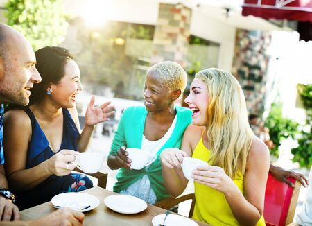 adult group: Group Friends Chilling Talking Holiday Concept