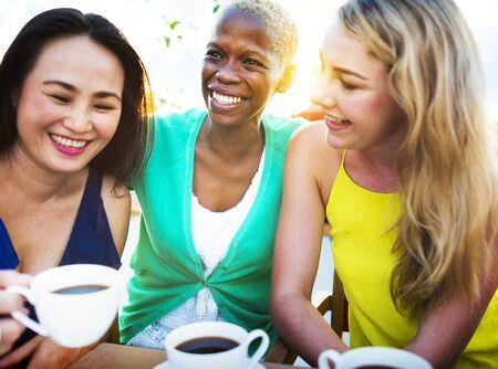 friends coffee: Girls Coffee Break Talking Chilling Concept