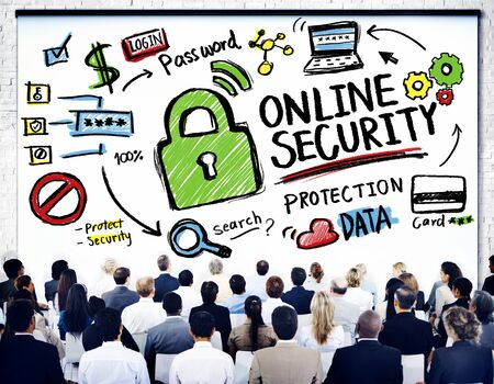 online security: Online Security Protection Internet Safety Business Seminar Concept Stock Photo