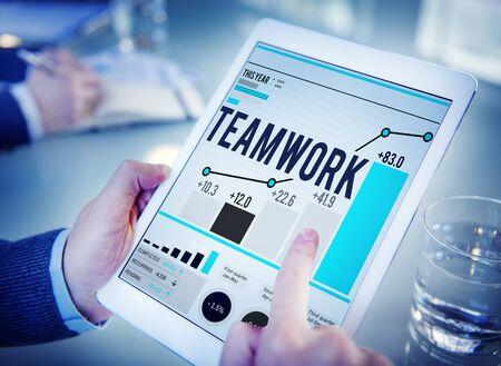 online: Teamwork Team Collaboration Support Help Business Concept