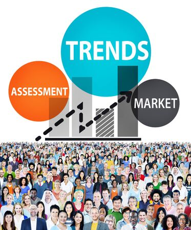 large group of items: Trends Assessment Market Fashion Contemporary Concept