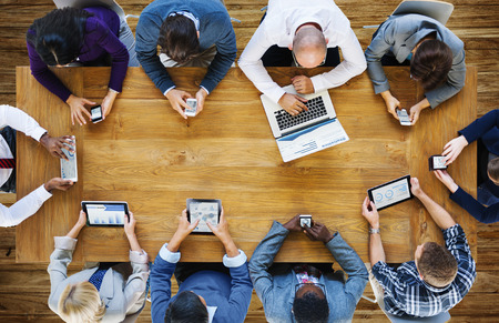 meeting: Communication Connection Digital Devices Technology Concept Stock Photo