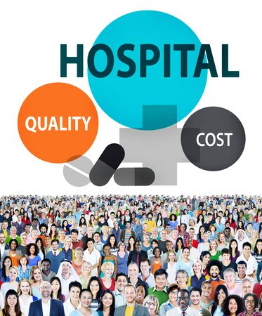eastern medicine treatment: Hospital Quality Cost Healthcare Treatment Concept Stock Photo