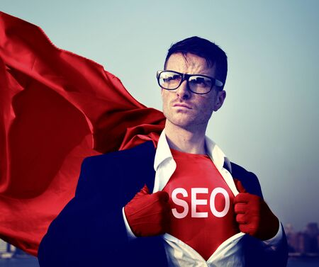 changing form: Strong hero Businessman SEO Concepts Stock Photo