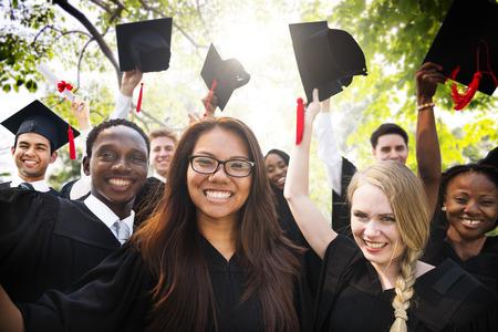 Diversity Students Graduation Success Celebration Concept