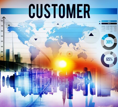 digital data: Customer Buyer Business Marketing Service Concept Stock Photo