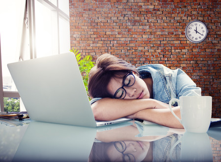 office break: Businesswoman Sleeping Office Worker Break Digital Device Concept