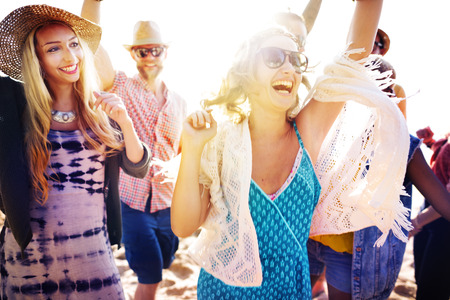beach man: Teenagers Friends Beach Party Happiness Concept Stock Photo