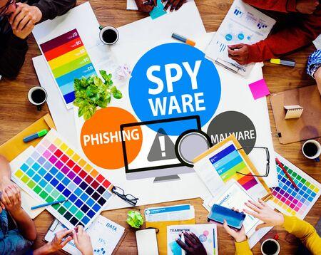 spyware: Spyware Hacking Phishing Malware Virus Concept Stock Photo