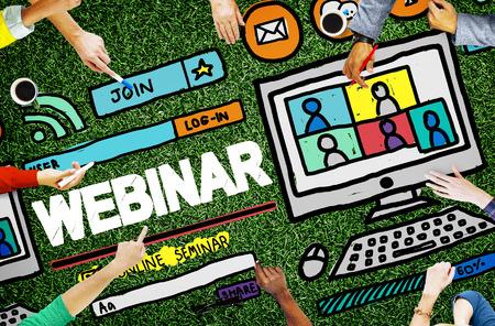 comunicazione: Webinar Seminario online globale Conmmunications Concetto