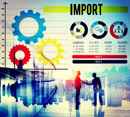 merchandise: Import Shipping Transportation Supply Merchandise Concept Stock Photo