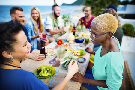 dinner: Beach Cheers Celebration Friendship Summer Fun Dinner Concept