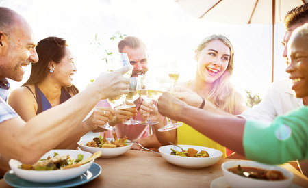 restaurant dining: Diverse People Friends Hanging Out Drinking Concept