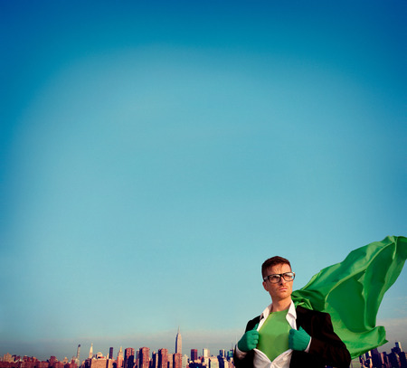empowerment: Superhero Businessman Empowerment Cityscape Team Concept