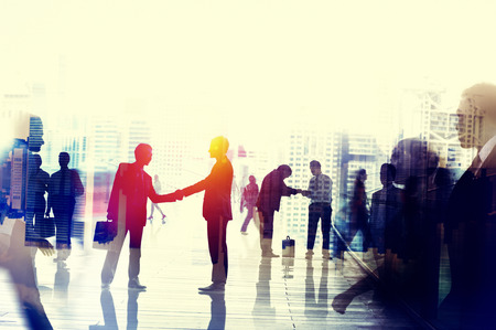 respeto: La gente de negocios hablando Concepto conversaci�n de Connection Foto de archivo