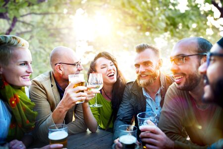 beer and wine: Diverse People Friends Hanging Out Drinking Concept