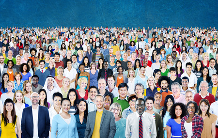 large: Large Group of Diverse Multiethnic Cheerful Concept Stock Photo
