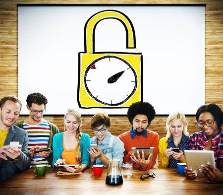 puntual: Tiempo de desbloqueo Reloj despertador puntual Cron�metro Concepto