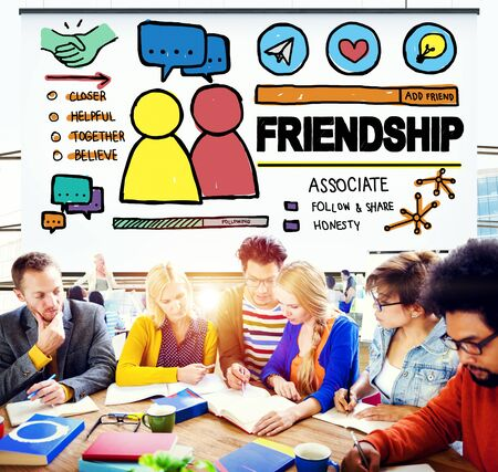 asian ethnicity: Friendship Group People Social Media Loyalty Concept