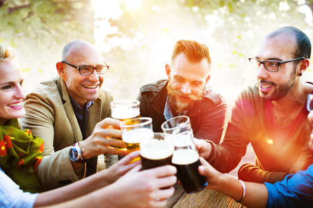 young adult men: Diverse People Friends Hanging Out Drinking Concept