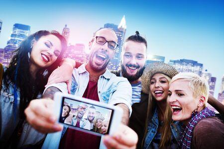 urban scene: Diverse People Friends Fun Bonding Smart Phone Concept