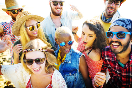 young adults: Teenagers Friends Beach Party Happiness Concept Stock Photo