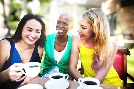 asian ethnicity: Girls Coffee Break Talking Chilling Concept