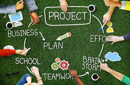 teamwork concept: Project Brainstorm Plan Effort Mission Teamwork Concept