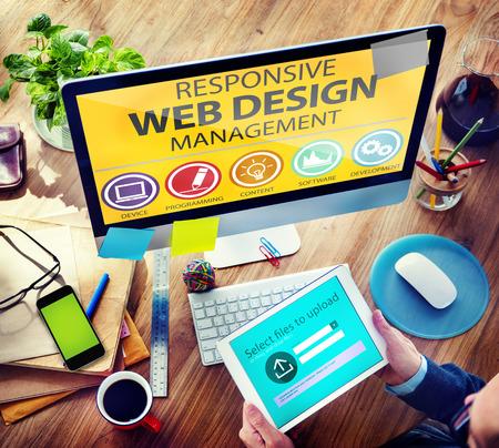 レスポンシブ Web デザイン管理プログラミング概念 写真素材