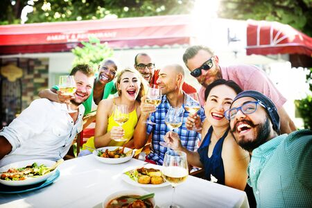 dining out: Diverse People Luncheon Outdoors Food Concept