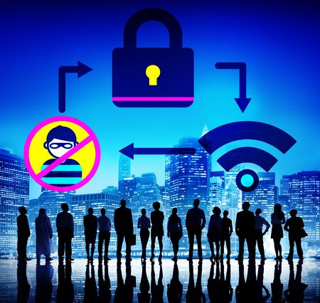security protection: Online Security Protection Networking Privacy Concept