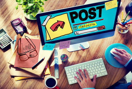 post office: Post Blog Social Media Share Online Communication Concept