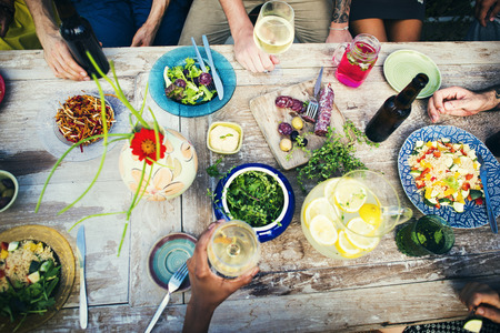 party table: Food Table Healthy Delicious Organic Meal Concept Stock Photo