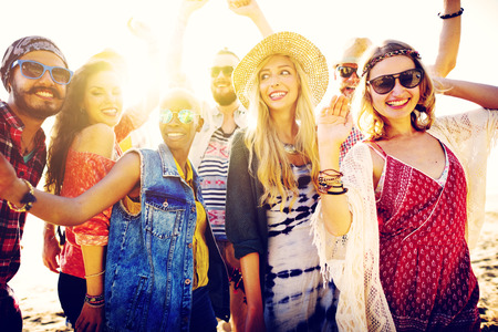 human arms: Teenagers Friends Beach Party Happiness Concept Stock Photo