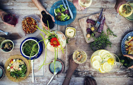 organic plants: Food Table Healthy Delicious Organic Meal Concept Stock Photo