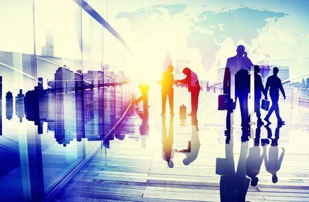siluetas mujeres: Business People Talking Connection Conversation Concept