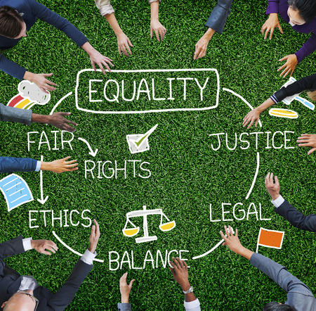 Igualdade, direitos, equilíbrio, justiça justa, ética, conceito Foto de archivo