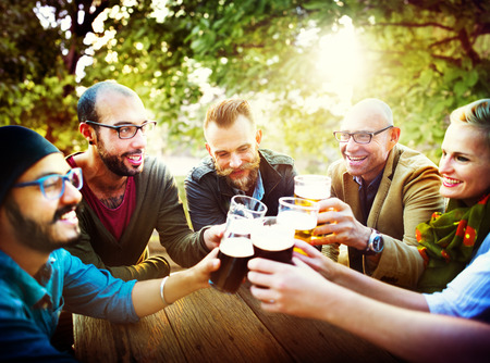 beer drinking: Friends Party Outdoors Celebration Happiness Concept