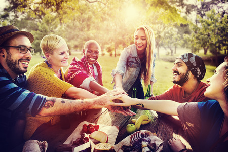 join the team: Friends Outdoors Camping Teamwork Unity Concept Stock Photo