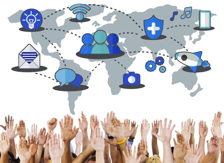 network connection: Social Network Sharing Global Communications Connection Concept Stock Photo