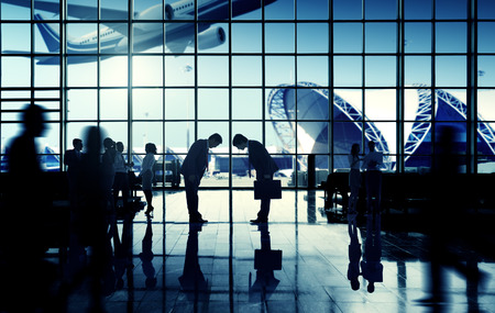 business travel: International Airport Business Travel Bow Down Concept