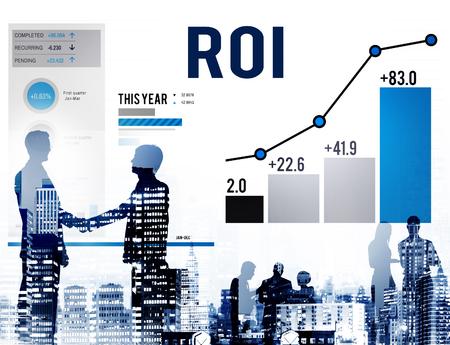finance concept: Roi Return On Investment Analysis Finance Concept