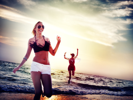 Beach Women Jumping Summer Holiday Chilling Concept