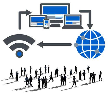 rete di computer: Concetto di connessione di rete informatica Internet Technology Archivio Fotografico